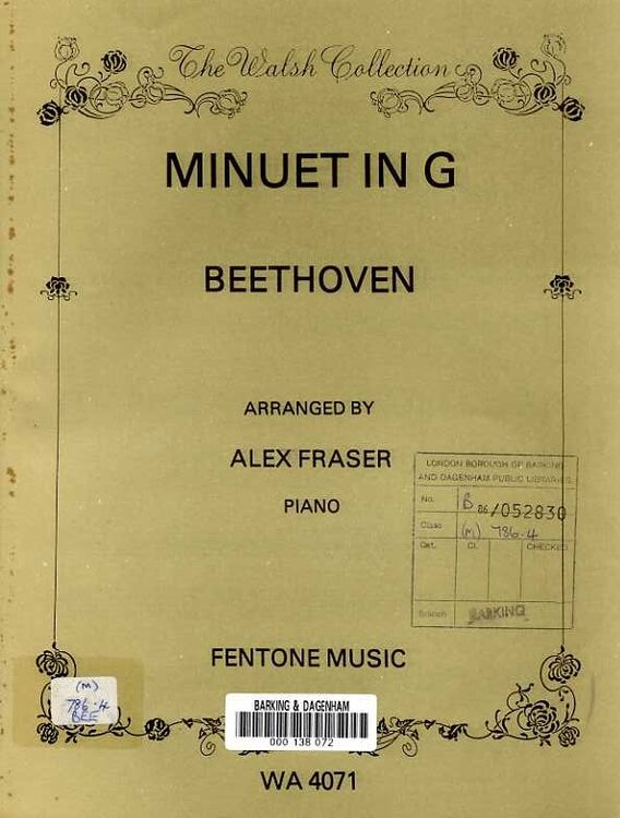 Beethoven - Minuet in G - The Walsh Collection