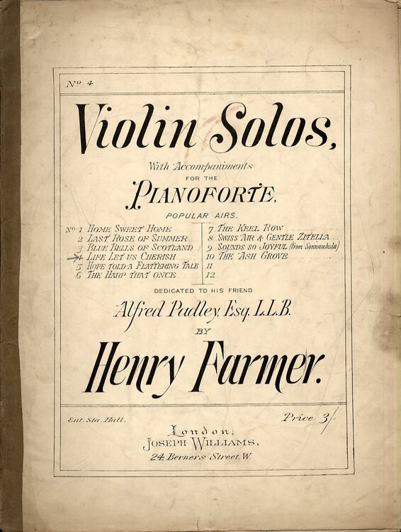 Farmer - Life Let Us Cherish - Air for Violin and Piano - Dedicated to  Alfred Padley Esq