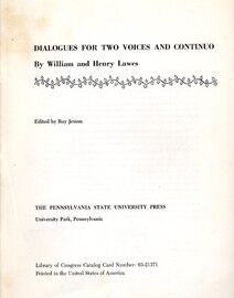 Dialogues for Two Voices and Continuo