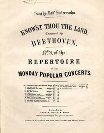 Know\'st Thou The Land - No. 3 of the Repertoire of the most popular concerts serie - As sung by Made. Enderssohn