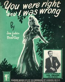 You Were Right and I was Wrong - Song featuring Lou Preager