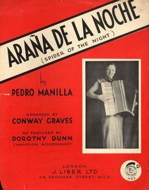Arana de la Noche (Spider of the night) - As featured by Dorothy Dunn, champion accodionist - Tango Argentino for Piano Accordion with Chord Symbols
