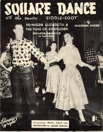 Fiddle Foot - Square Dance for piano solo -  Features a picture of Princess Elizabeth and the Duke of Edinburgh square dancing in Canada