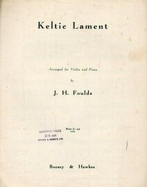A Keltic Lament - Piano Solo - Opus 29, No. 2 of Keltic Suite for Violin and Piano