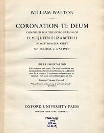 Coronation te Deum - Composed for the Coronation of H. M. Queen Elizabeth 2nd in Westminster Abbey on Tuesday, 2nd June 1953 - Vocal Score with Piano