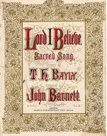 Lord I Believe, Sacred Song, As Towards the Stream, Lays of the Sabbath No.16,