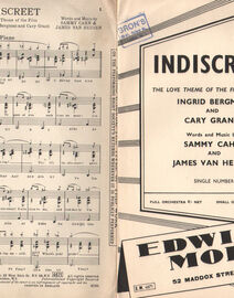 DANCE BAND with Vocals:-  INDISCREET - The love theme of the film starring Ingrid Bergman and Cary Grant