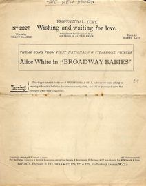 Wishing and Waiting for Love - Theme Song from First National's Vitaphone Picture