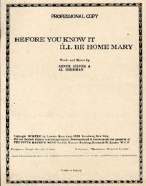 Before you know it i'll be home mary - For Piano and Voice with Ukulele chord symbols