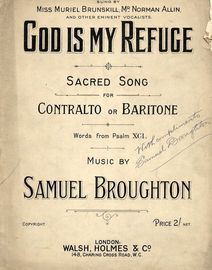 God is my Refuge - Sacred Song in Key of F major - For Contralto or Baritone