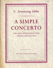 A Simple Concerto - For Solo Pianoforte and String Orchestra In Three Movements