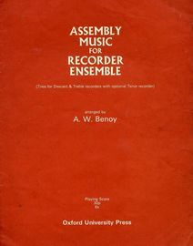 Assembly Music for Recorder Ensemble - Trios for Descant & Treble recorders with optional Tenor Recorder