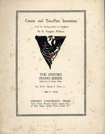 Canon and Two-Part Invention (from Six Teaching Pieces for Pianoforte) - The Oxford Piano Series No. P210 - Grade F