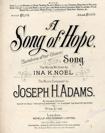 A Song of Hope (Sunshine After Gloom) - Song - In the key of F major for high voice