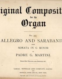 Allegro and Sarabande from Sonata in G Minor - Original Compositions for the Organ Series No. 355