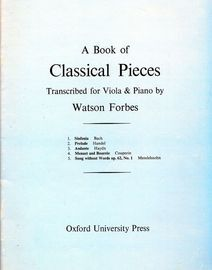 A Book of Classical Pieces - For Viola and Piano - With Seperate Viola Parts