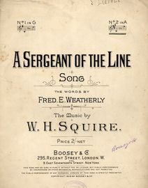 A Sergeant of the Line - Song - In the key of  A major  for High Voice
