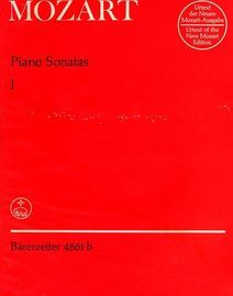 Mozart Piano Sonatas - Volume 1- Urtext of the New Mozart Edition - Barenreiter Edition No. 4861b
