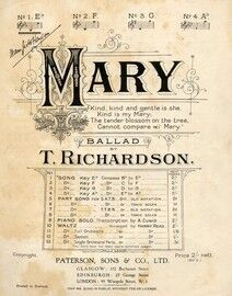 Mary - Ballad (Kind, Kind and Gentle is she) - In the key of E flat for low voice