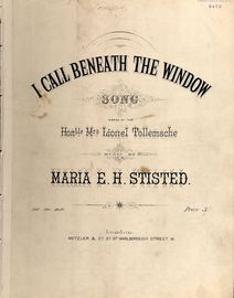 I Call beneath the Window - Song - For Piano and Voice