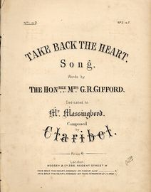 Take Back The Heart - Song dedicated to Mr Massingberd - In the key of D major for low voice