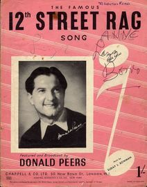12th Street Rag - Song - Featured and Broadcast by Donald Peers - For Piano and Voice with Guitar chord symbols