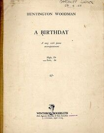A Birthday - A Song with Piano Accompaniment - In the key of A flat for low voice