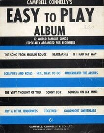 Easy to Play Album, 12 world famous songs especially arranged for beginners