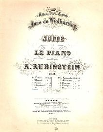 Gavotte. Dedicated to Mademoiselle la Comtesse, Anne de Wielhorsky. Suite for piano. Op 38