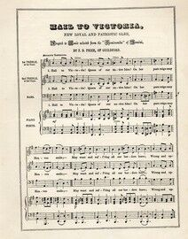 Hail to Victoria, new loyal patriotic glee, treble treble bass for three voices