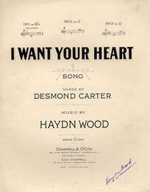 I Want Your Heart - Song - In the key in E flat major for lower voice