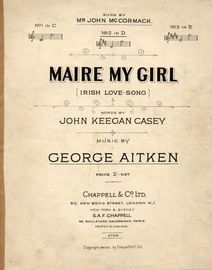 Maire My Girl - Irish love song - Key of D major for medium voice