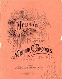 Melody in D flat: for the piano: autographed by the composer 1917