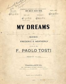 My Dreams - Song - In the key of B flat major for low voice