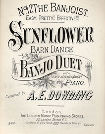 Sunflower. Barn Dance. Banjo Duet with Easy Accompaniment for Piano