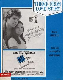 Theme from Love Story -  Ali McGraw and Ryan O'Neal. Piano Solo arranged by Henry Mancini