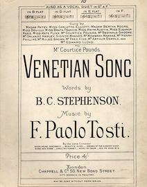 Venetian Song - Song in the key of B flat major for low voice
