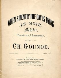 When Silently the Day is Dying (Le Soir) - Melodie - Key of D