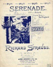 Serenade - Song -  Op. 17 No. 2 - English & German words in the key of F sharp major for high voice
