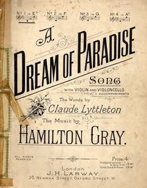 A Dream of Paradise - Key of E flat major for Low voice - Compass B up to D