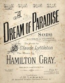 A Dream of Paradise - Song in the Key of A flat major for high voice - Compass E up to G