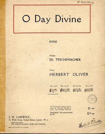 O Day Divine - Song - In the key of C major for low voice