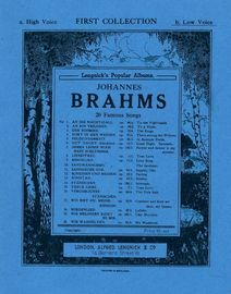 Brahms - 20 Famous Songs - Lengnick's Popular Albums - First Collection for Low Voice