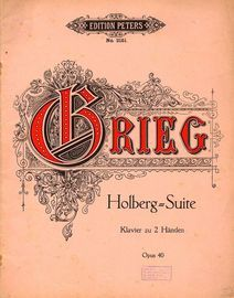 Holberg Suite - Opus 40 - Edition Peters No. 2152