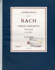 J S Bach - Violin Concerto - No. 2 in E - For violin and piano with seperate violin part - Edition No. 7941