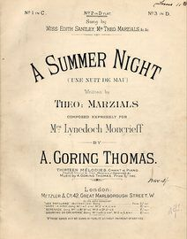 A Summer Night - (Une nuit De Mai) -  Song as performed by Madam Clara Butt in the key of D flat for medium voice with Accompaniament for Violoncello