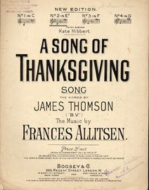 A Song of Thanksgiving -  Song  - In the key of E flat major