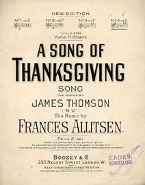 A Song of Thanksgiving -  Song  - In the key of  G major for High Voice