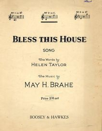 Bless This House - Key of C major for medium voice