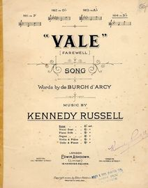 Vale (Farewell) - Song - In the key of B flat major for high voice